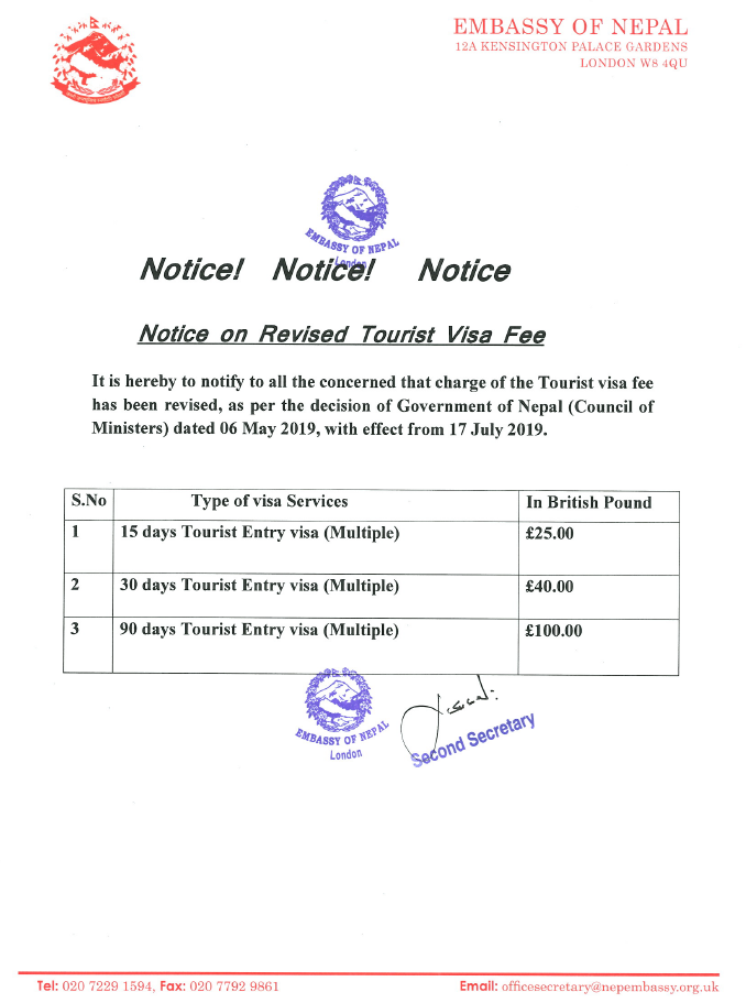 Notice regarding on revised Tourist Visa fee with effect from Monday
